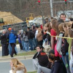 Many of the students came in front of the school to see the event unfold.