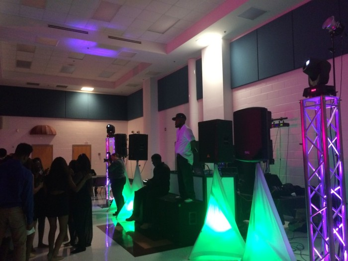 DJ Urban Cowboy performs to an eager crowd of students.