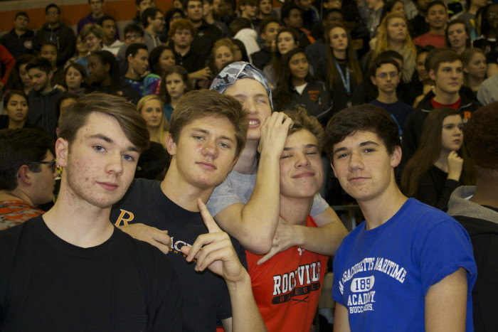 Seniors James Morey, Alexander Nagy, Hunter Kline, Sam Chisolm and Jack Hegarty pose at the pep rally.