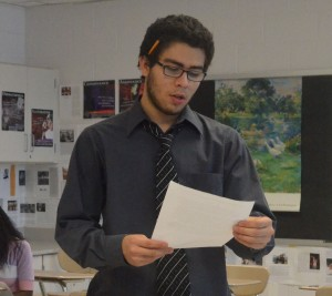 Senior debater Kevin Monami practices his oral speech in preparation for the next debate about the rise of China affecting the U.S. Members of the debate team meet every Wednesday to discuss topics they must argue in their upcoming debates. --Adam Bensimhon