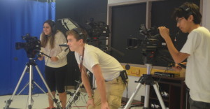 Students in Annear's second period T.V. production class start to work with cameras and anchors after practicing making news packages on a PowerPoint program for the first few weeks of school. --Adam Bensimhon