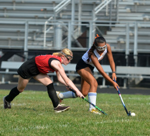 Senior mid-fielder Stephanie Sherpa extends to hit the ball past Northwood defender. The Lady Rams defeated Northwood at a home game on Sept. 10. --Adam Bensimhon