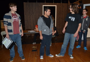 Junior Martin Mitchell, sophomore Jonathan Garcia and freshman Sean Berry run lines during rehearsal for the upcoming RHS production of The Crucible. --Mercy Fosah