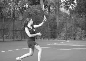Senior Vicky Ganev follows through after hitting a ball during a home match against Quince Orchard Oct 17. Ganev along with the rest of the Lady Rams finish their season at 5-7 and begin to prepare for an exciting county tournament.