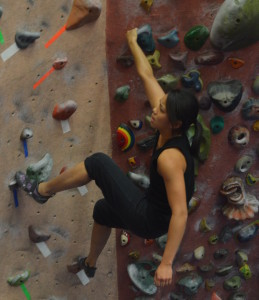 Math teacher Carmen Tong practiced her climbing skills at Earth Treks last Wednesday after teaching AP Calculus and Algebra all day.  Earth Treks is located on Rockville Pike. --Adam Bensimhon