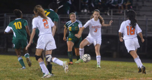 Junior Sophia Dillon cuts off a defender in a regular season game vs. Seneca Valley HS , who they later beat in the first round of playoffs.