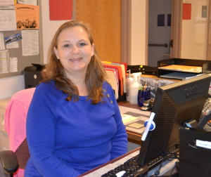 Nurse Grocki poses by her work station where she helps RHS students everyday. --Camila Torres