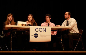 Participants in the Student Emerging Leaders Program state their con position at the Issues Debate. Rising sophomores can apply to this program, designed to foster community awareness and leadership, by April 11. Photo Courtesy of Montgomery County Public Schools