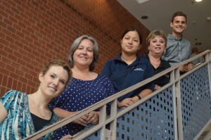 From left to right: Spanish teacher Madeline Rudman, French teacher Lois Laclef, security guard Liz Wong, health tech Sandy Minear and technology teacher Drew Kramer leave RHS at the end of the year. (Marci Michael, Becky Poston and Luanne Ruonavar are also leaving but are not pictured.) --Camila Torres