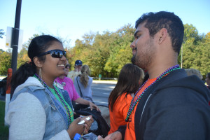 Senior Sushmitha Tamilselvan and junior Jonathan Garcia participate in the 2014 Out of the Darkness walk. --Elissa Britt