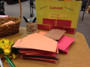 In the IMC the stack of bricks is immediately on a table when you enter. This encourages more students to write their goals down.