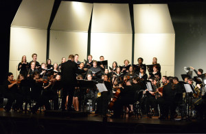 The orchestra preforming at the Zane Rush Theatre, Rockville High School. Courtesy of wgso.org