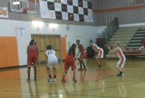 Senior guard Megan Anderson shoots a free throw, an area of the game that the Lady Rams are working to improve on. --Ronaldo Reyes