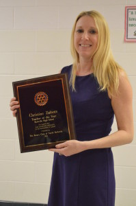 Christine Zafonte shows her award. Zafonte has been teaching for ___ and working at Rockville since ___.
