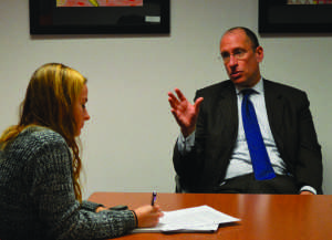 Superintendent Dr. Joshua Starr sits down for an interview Nov. 13 with Rampage Editor-in-Chief Greta Anderson. Dr. Starr will step down from his position Feb. 16. --Meklit Bekele