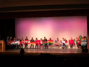 The assembly ended with a display of all the different countries people from our community originate from. --Nora Wahlbrink