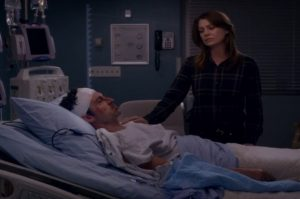 Meredith Grey says her final goodbyes to husband Derek Shepherd as his life support is removed. Courtesy of ABC Studios