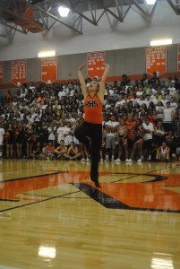 Junior Mia Krawczel displays her baton twirling abilities.