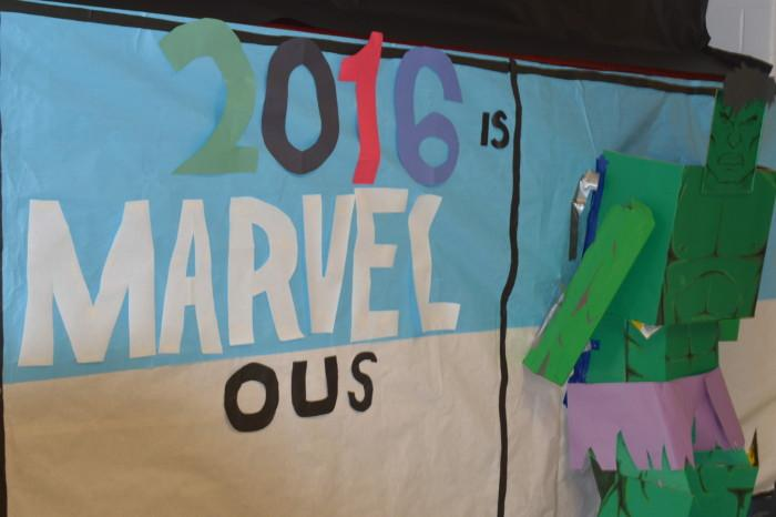 The class of 16' created a cardboard cut out of the Incredible Hulk.