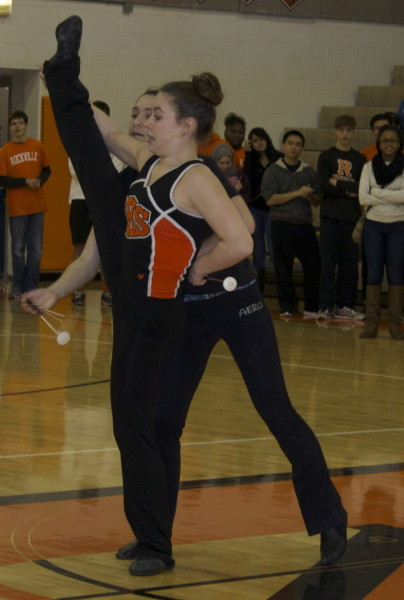 Junior Mia Krawczel and Sophomore Jillian Krawczel perform an exciting baton routine at the pep rally.